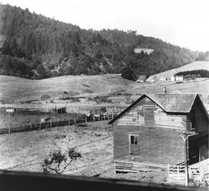 Hagmaier Ranch. Building in the foreground and corrals and fencing. More ranch buildings in background including house. Long view looking over valley towards tree covered hills in background.